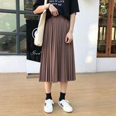 韓版chic寬鬆鬆緊腰壓褶半身裙女復古百褶學生中長裙   茱莉亞