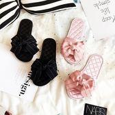 雙12盛宴 拖鞋女夏室內防滑可愛舒適地板韓國韓版手工一字拖蝴蝶結家居拖鞋