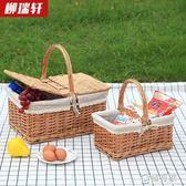 柳瑞軒柳編野餐籃手提籃購物籃提籃花籃禮品包裝籃採摘籃子  ATF