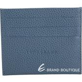 LONGCHAMP Le Foulonne 牛皮名片夾/卡片夾(莫蘭迪灰藍) 1840614-85