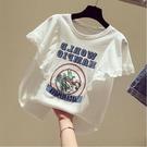 蕾絲T恤 t恤女短袖新款夏季寬鬆蕾絲花邊印花字母白色上衣【88折免運】