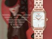 【時間道】EMPORIO ARMANI亞曼尼 時尚復古女伶八角形腕錶/白貝面玫瑰金帶(AR11147)免運費