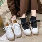 休閒鞋.日系簡約綁帶厚底牛筋底包鞋.白鳥...