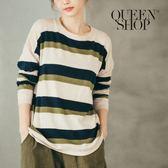Queen Shop【01012198】配色寬條紋針織上衣 兩色售*現+預*