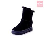 兩穿法時尚內增高厚底毛絨雪靴 黑 *MOM*