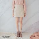 淡調輕格紋毛呢短窄裙(S-L)-2色 蘋...