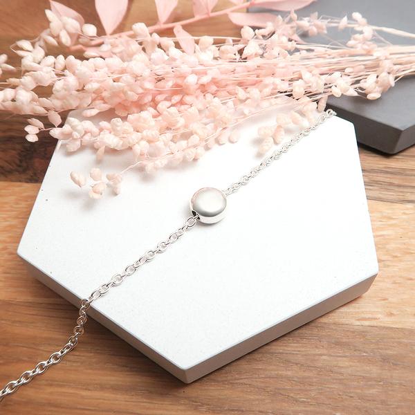 檸檬薄荷糖(大) 圓形銀珠手鍊 925純銀手鍊