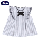 chicco-直條荷葉傘狀短袖上衣