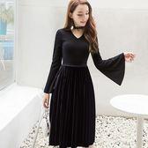 美之札[98633-QF]大V領設計浪漫韓國絨長袖洋裝連身裙~秋冬新款~