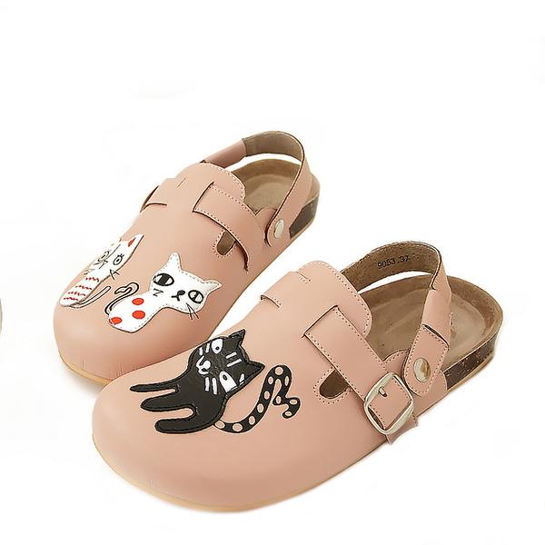 【Jingle】貓咪俱樂部前包後空軟木休閒鞋(甜美粉大人款)