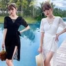 特惠連身泳裝 游泳衣女2021年新款時尚溫泉遮肚顯瘦小胸韓國ins連體仙女范保守