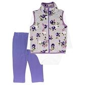 女寶寶套裝三件組 刷毛高領背心+包屁衣+長褲 灰紫印花 | Carter s卡特童裝 (嬰幼兒/兒童/小孩)