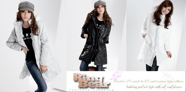 鋪綿連帽外套--吸睛注目焦點-腰身剪裁鋪棉連帽毛邊素面長外套(黑.紫M-2L)-J72眼圈熊中大尺碼◎