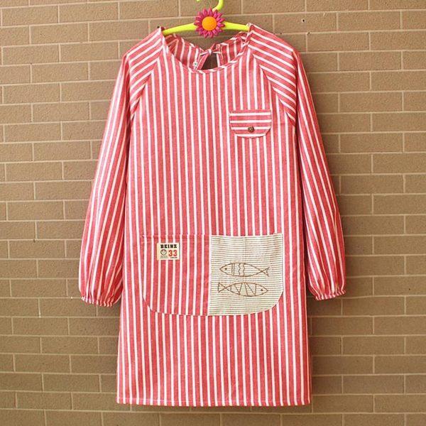 全館83折 圍裙長袖條紋雙層廚房韓版時尚可愛罩衣反穿倒褂防水防油純棉