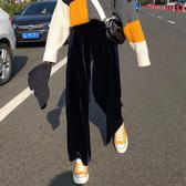 休閒褲 2019新款cec褲女直筒闊腿褲高腰垂感休閒褲寬鬆絨面黑色拖地長褲