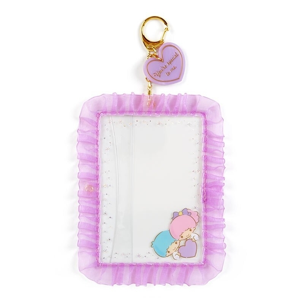 小禮堂 雙子星 蕾絲邊框相框鑰匙圈 透明相框 相框吊飾 相片架 (紫 演唱會粉絲收納) 4550337-45244