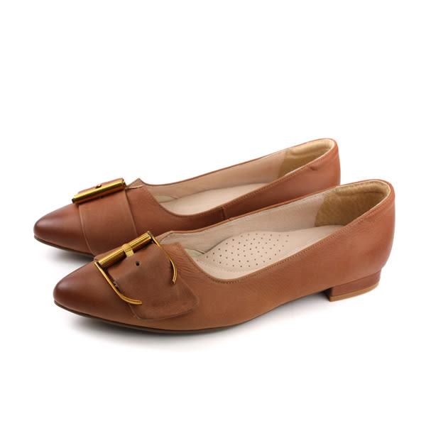HUMAN PEACE 休閒皮鞋 尖頭 平底 女鞋 紅棕色 061824TB no288