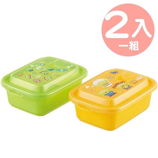小禮堂 迪士尼 三眼怪 日製 方形透明微波保鮮盒組 塑膠便當盒 500ml (2入 綠黃) 4973307-50703