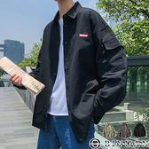 【OBIYUAN】襯衫外套 軍裝 素面 情侶款 寬鬆 長袖襯衫 共3色【FGCW10】