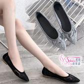 包鞋.預購.蕾絲透膚尖頭平底娃娃鞋.黑/灰【鞋鞋俱樂部】【054-043】