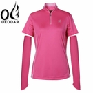 【DEODAR 女 頂級COOLMAX高領衫 桃紅】22C00215/涼感/抗UV/快速排汗