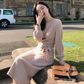 長袖洋裝-中長款毛衣裙過膝燈籠袖連衣裙寬鬆針織上衣女長袖 夏沫之戀