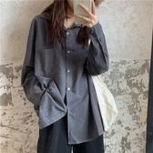 長袖襯衫復古襯衫女長袖秋季新款韓版寬鬆百搭學生休閒外套襯衣上衣 新年禮物