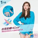 【好棉嚴選】台灣製機能型 吸濕排汗全面防曬抗UV連帽開指外套(藍色1入組)