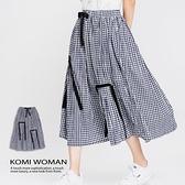 【南紡購物中心】KOMI-泡泡棉鬆緊格子花苞長裙‧棉裡