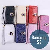 SAMSUNG 三星 S6 時尚鷹眼皮套 附手繩 左右開 插卡 側翻皮套 手機套 殼 保護套 配件