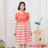 RED HOUSE-蕾赫斯-素面條紋洋裝(橘色)