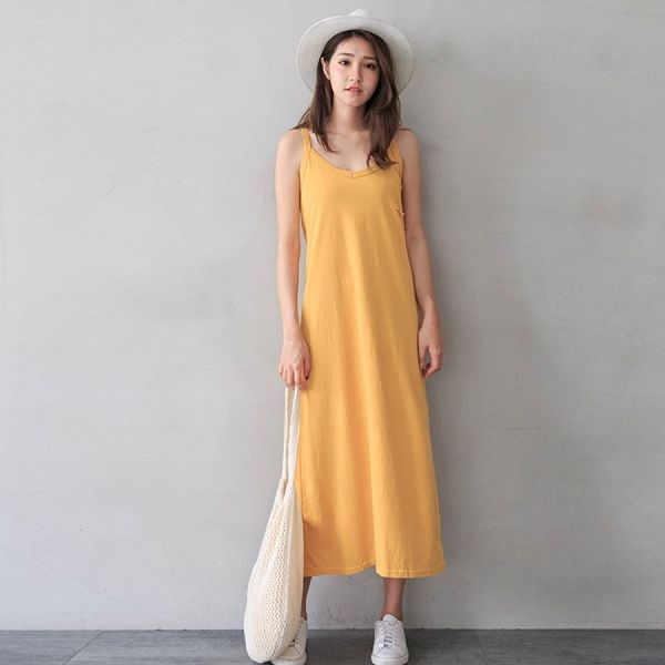 MIUSTAR 正韓-V領小口袋細肩背心棉質洋裝(共5色)【NJ0701RE】預購