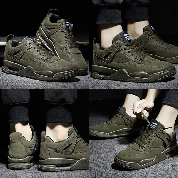 Free Shop 純色緩震氣墊運動休閒鞋 復古感AJ4造型 特殊反絨皮面料 百搭運動鞋球鞋潮鞋 【QTJSHK616】