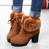 中筒雪靴-時尚英倫氣質粗跟女高跟靴子2色73kg55[巴黎精品]