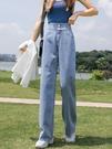 闊腿牛仔褲女夏季薄款2021年新款九分高腰垂感寬鬆破洞拖地直筒褲 黛尼時尚精品