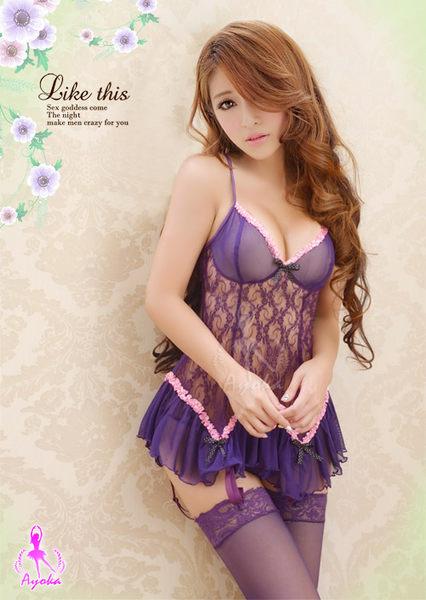 【愛愛雲端】愛戀約定!蕾絲長馬甲 四件組 性感睡衣 (紫) NA13030029-2