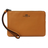 【COACH】經典LOGO防刮牛皮手拿包零錢包(楓葉橘)