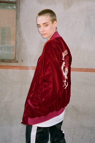 【GOZER Taiwan】VELOUR BOMBER JACKET 絨布龍騰刺繡棒球外套 (紅色) 現貨