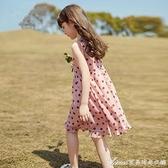 女童波點洋裝/連身裙夏2021新款童裝女孩裙子洋氣兒童雪紡公主裙中大童 快速出貨