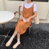 夏季2020新款女韓版寬鬆百搭純色v領無袖吊帶裙過膝中長款洋裝 【ifashion·全店免運】