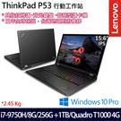 【Lenovo】ThinkPad P53 20QNCTO1WW 15.6吋i7-9750H六核SSD雙碟Quadro獨顯專業版商務工作站筆電(三年保固)
