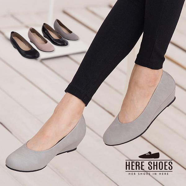 [Here Shoes]4色 嚴選麂皮質感 素面楔形中跟包鞋 好走好穿脫 乳膠鞋墊柔軟舒適 ◆MIT台灣製─KP896
