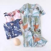 胸墊睡裙 人棉帶胸墊睡裙女夏季短袖睡衣純棉寬鬆棉綢夏天休閑可外穿家居服