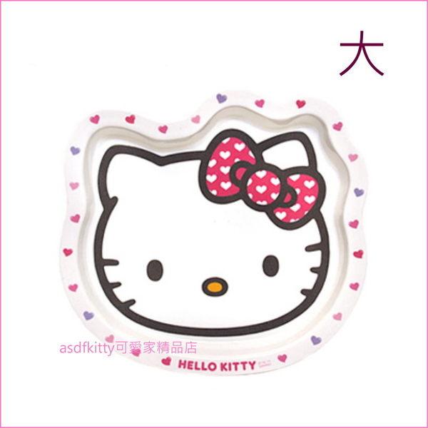 asdfkitty可愛家☆KITTY愛心蝴蝶結頭型頭型托盤/餐盤-大-可裝餐點.水果,甜點-韓國製