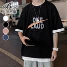 情侶短T恤 字母印花寬鬆大尺碼五分袖短袖上衣【NQ920118】