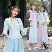 中國風夏裝文藝小清新復古民族風刺繡改良式漢服七分袖上衣‧復古‧衣閣