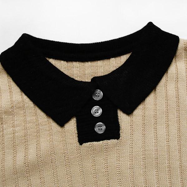 滿600折百-現貨-MIUSTAR 光澤大圓釦撞色襯衫領針織洋裝(共2色)【NE6549EX】