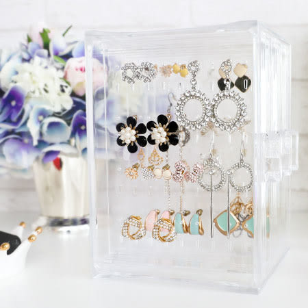 透明壓克力耳環架 首飾架 透明 耳環架 收納 壓克力 掛架 耳環收納盒 收納盒 展示架 桌面