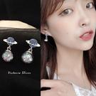 韓國優雅氣質 宇宙 水晶球 耳環-維多利...
