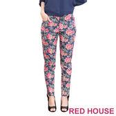 【RED HOUSE-蕾赫斯】滿版花朵九分褲(深藍色) 零碼出清,滿499元才出貨